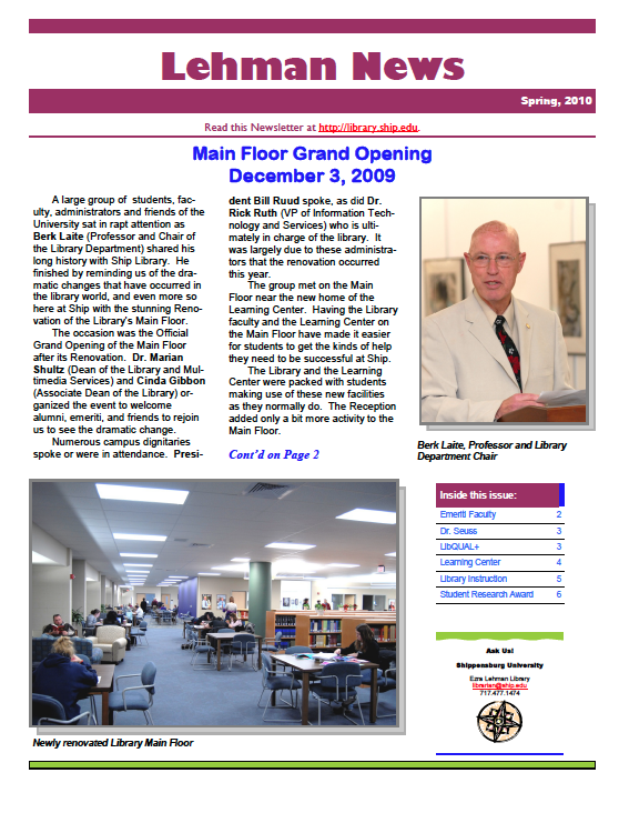 Spring 2010 Newsletter Cover