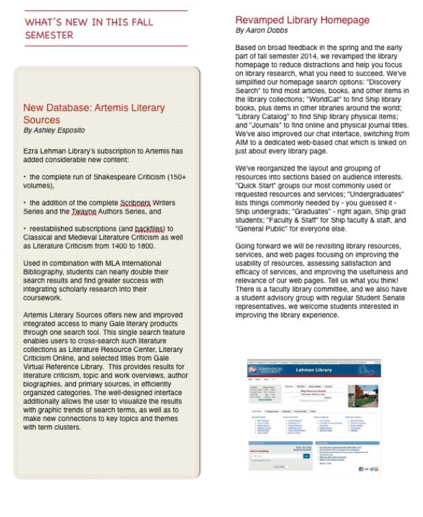 library newsletter page 3 - use 'library newsletter - fall 2014' link