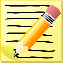 Cartoon image of a lined piece of paper with a pencil laying on top of it.