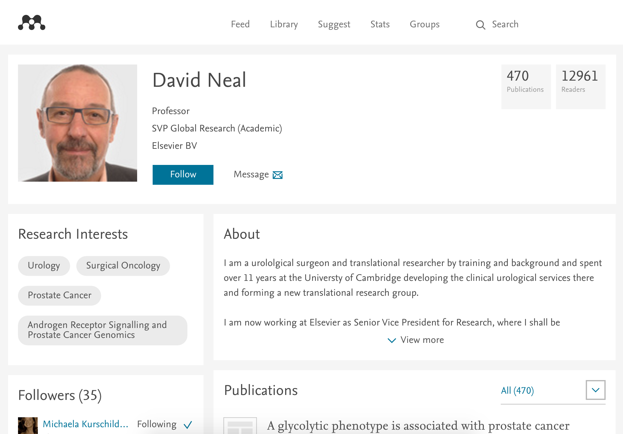 screenshot of what a mendeley user profile looks like