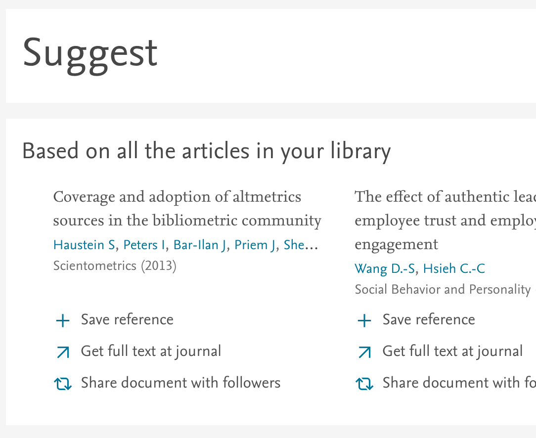 screenshot of Mendeley's suggestion feature