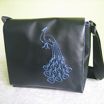 Messenger bag with peacock design
