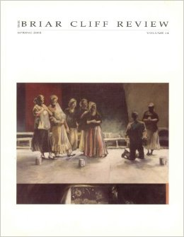 Briar Cliff Review cover showing artwork with five standing people on left and two standing people on the right