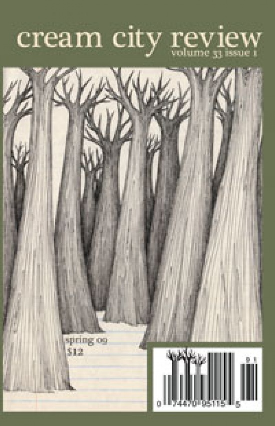 Cream City Review cover showing stylized leafless tall tree trunks in a forest