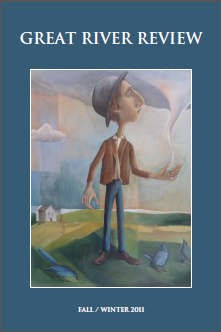 Great River Review cover showing artwork apparently of tall idealized man holding tornado in his left hand standing against a bucolic landscape with cloudy skies
