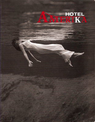 Hotel_Amerika cover showing B/W photo of woman in long gown floating in some body of water