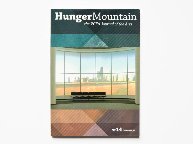 Hunger Mountain cover showing artwork apparently of inside window of skyscraper looking out onto cityscape in the distance