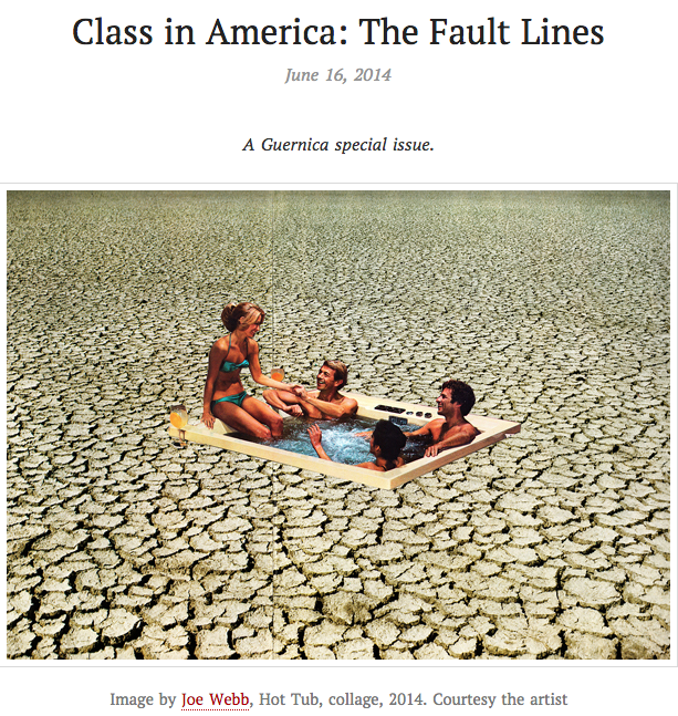 Guernica  cover  Class in America: the faultlines, with photo of reclining people on some sort of blanket surrounded by parched desert like cracked soil