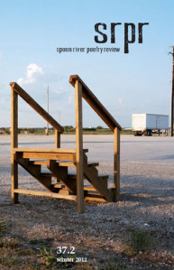 Spoon River Poetry Review cover showing steps leading to nowhere with a semi trailer truck in the distance