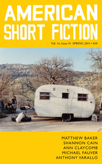 American Short Fiction cover showing older camper trailer