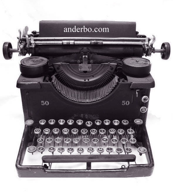 anderbo.com - black and white photo of the manual typewriter against white background