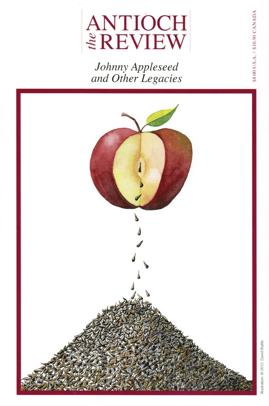 Antioch Review cover showing  cut Apple dropping a large pile of black seeds