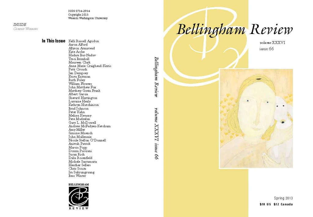 Bellingham Review back cover and cover showing yellow design with drawing of woman's face