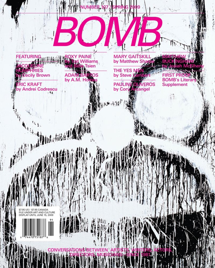 Bomb literary magazine cover showing pencil sketch of persons face with glasses vaguely resembling Homer Simpson