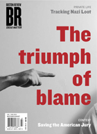 "BR Boston Review cover showing photo of pointing finger with text saying ""The triumph of blame"""