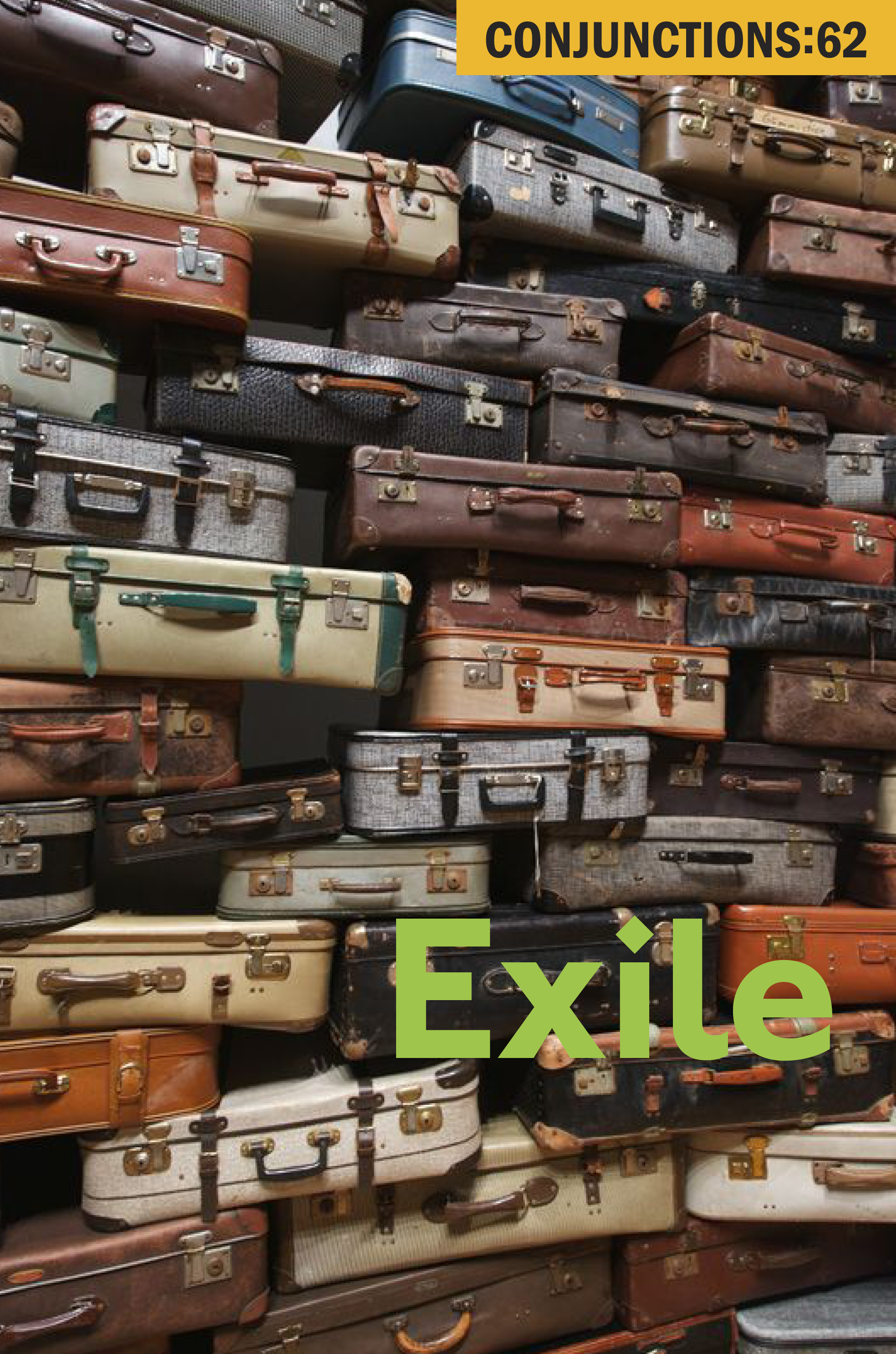 Exile Conjunctions: 62 cover showing multicolored suitcases stacked as a wall