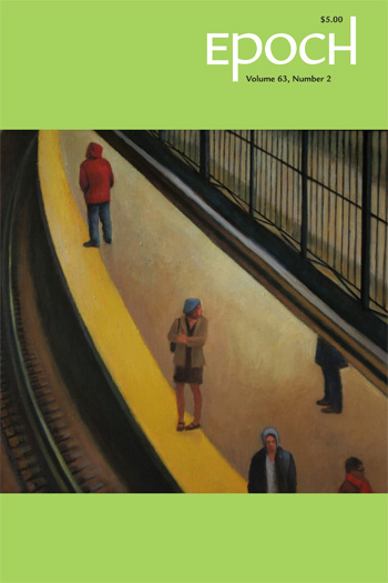 Epoch cover showing painting of people walking along yellow path by metal fence
