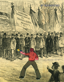 Fence, a biannual journal of poetry, fiction, criticism, and art cover showing people marching with signs in black and white with one person in red
