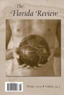 The Florida Review cover with sepia photo of male holding a small  dark-colored globe