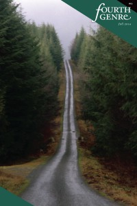Great River Review cover showing photo of unpaved rustic  single lane road through tall green conifers