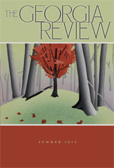 The Georgia Review with artwork of greenish knoll with tree trunks surrounding a smaller bright red deciduous tree