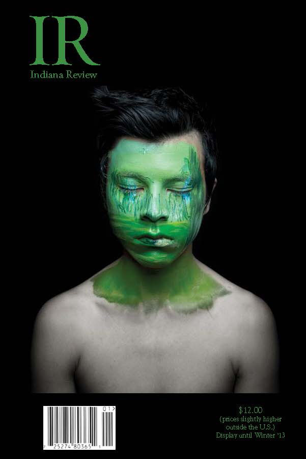 IR Indiana Review cover with B/W photo of person highlighted with green over their face and neck