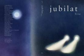 Jubilat cover showing some kind of artwork perhaps headlights driving through fog with an indigo blue and black background