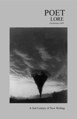 Poet Lore cover with black-and-white dark funnel cloud picture