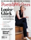Poets & Writers cover showing photo of woman dressed in black sitting on stairs