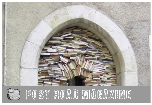 Post Road Magazine cover showing photo of books stacked inside of white and gray stone arch