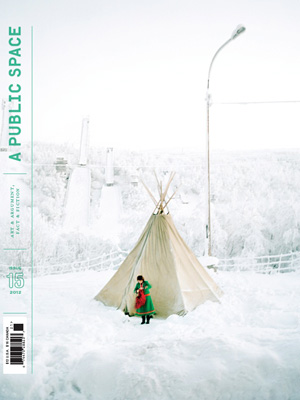 A Public Space cover showing what appears to be people in front of white teepee underneath a streetlamp surrounded by white snow