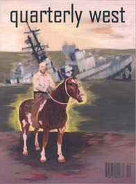 Quarterly West cover artwork showing person on horseback in front of half sunken ship