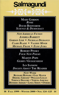 Salmagundi cover showing gold and black alternating text for various articles from Fall 1999
