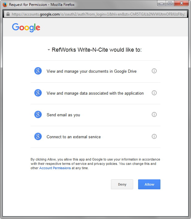 Screenshot of the Write-N-Cite permissions window
