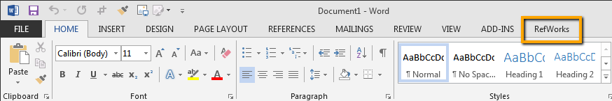 Screenshot of the RefWorks tab in Word