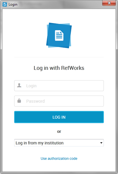 Screenshot of the RefWorks login screen from Write-N-Cite