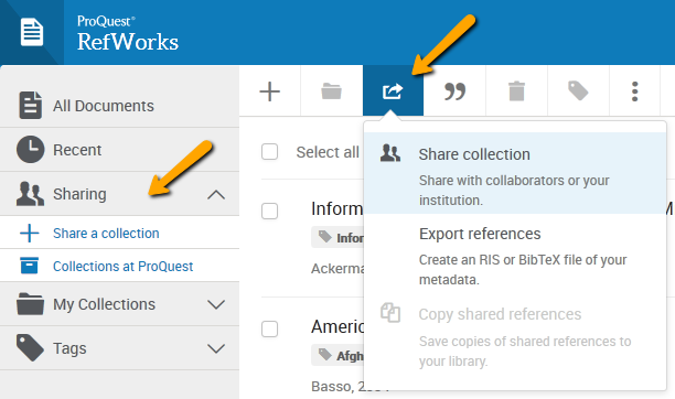 RefWorks screenshot with an arrow pointing to the Share & Export icon.