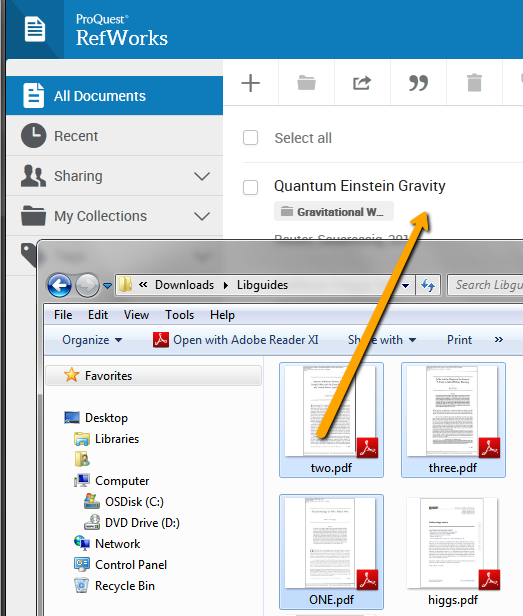 screenshot of open folder with files over top refwork to show how to drag multiple files