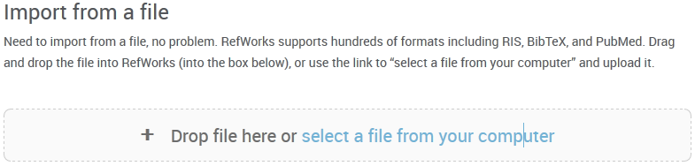 "RefWorks ""Import from a file"" screen."