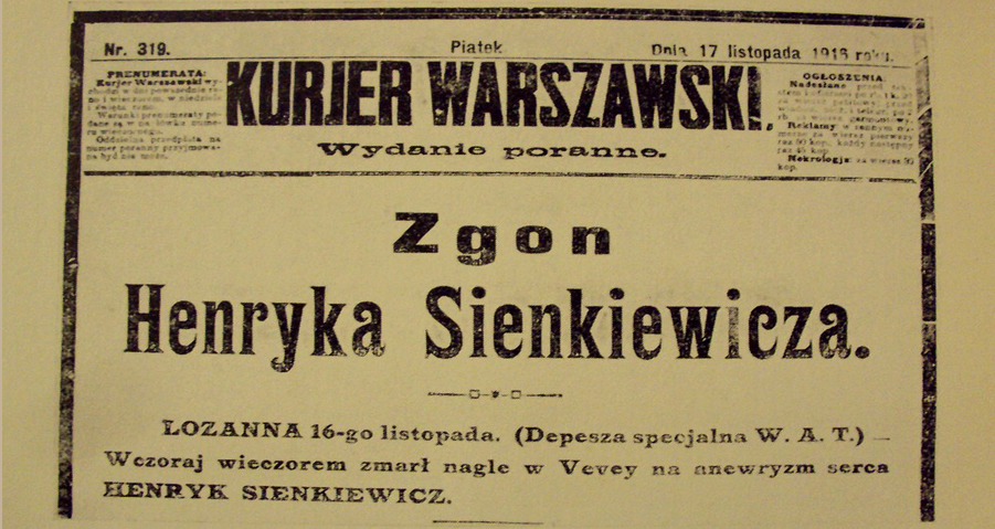 Front page of Polish newspaper, day after Sienkiewicz's death