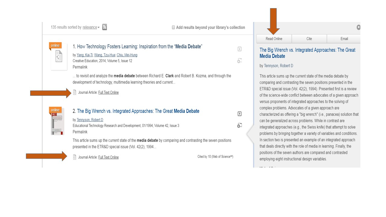 A screen shot of how to get an article that Penn State already owns on the Lionsearch results page. The image is directing to the 'Read Online' underneath the article summary and on the right hand side of the page by using red arrows.