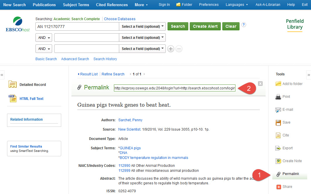 Screenshot of the Ebsco search interface, with permalink sections marked