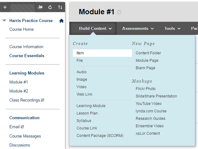 Screenshot of Blackboard 'build content' contextual menu