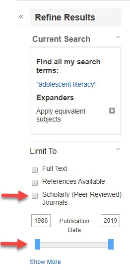 Ebsco database limiters