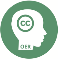 Green circle with white silhouette of a person's head, with the letters 'CC' in the head