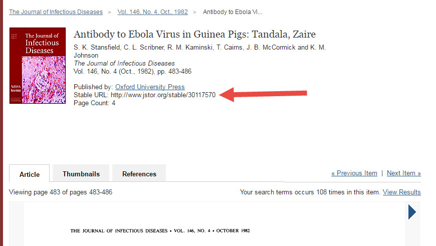 A screenshot of a JSTOR article page, with an arrow pointing to the stable URL