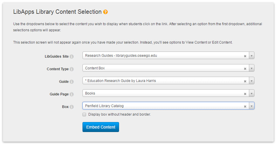 Screenshot of LibGuides LTI - manual option - in Blackboard
