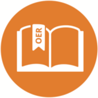 Orange circle with white outline of book; bookmark reads 'OER'