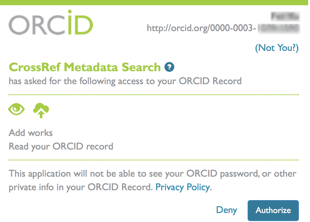 Authorize trusted parties to add works to ORCID screenshot