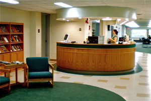 Picture of circulation desk in the Crane Library.